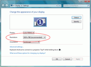 Windows 7 Display Settings Screenshot