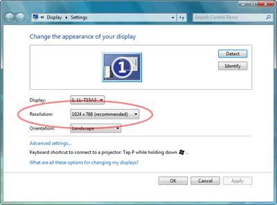 Windows 7 Display Settings Screenshot