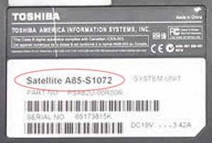 Picture of Toshiba model number label